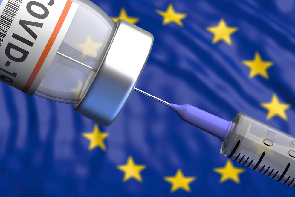 EU Coronavirus vaccine. Covid-19 vaccination, European Union flag background. 3d illustration